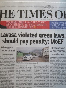 Lavasa on the cover of The Times of India (on our first day there)