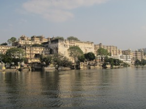 Udaipur centre and City Palace, seen from Lake Pichola